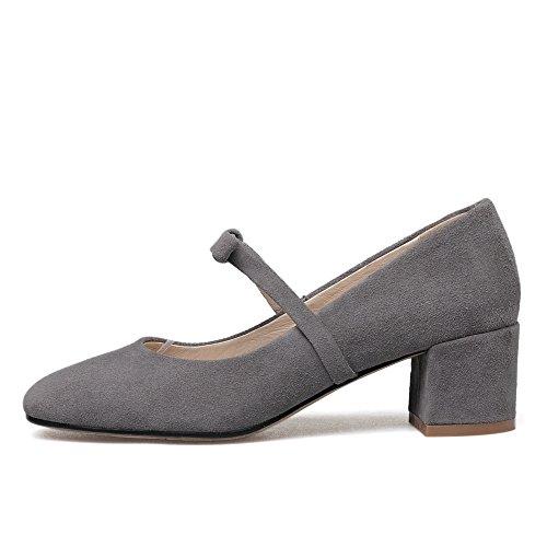 Nine Seven Cuero Moda Puntera Cuadrada Zapatos de Tacón Grueso con Lazo para Mujer gris