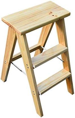 XBSLJ Marchepieds Tabouret Pliant Étapes Pliantes Tabouret d'échelle Pliante en Bois Massif escabeau Multifonction/Chaise d'escalier avec 3 étapes pour la Maison et la Cuisine