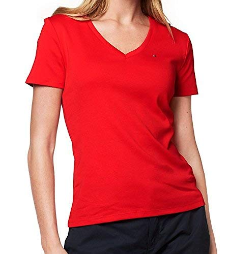 Tommy Hilfiger Womens V-Neck Solid Color Logo T-Shirt (Small, Bright Red)