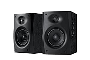 """Swans - D1010-IV - 2.0 Powered Speakers - Compact Solid Wood Bookshelf Cabinet (Black) - 4"""" Midrange & 20mm Neodymium Tweeter - Includes Cables for 3.5mm and RCA Inputs"""