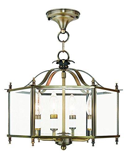 (Livex Lighting 4398-01 Livingston 4-Light Convertible Hanging Lantern/Ceiling Mount, Antique Brass)