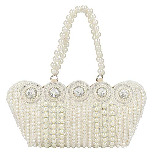 - Small Cutest Vintage Style Pearl Tote Bag Wrist Bag Evening Clutch Wedding Purse for Women & Girls