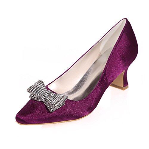 Apliques Acentuada Seda yc Colores De Boda Imitación Alto L Fiesta Las Purple Tacón Más Noche Disponibles Y Diamantes Mujeres Wnv0acP4c