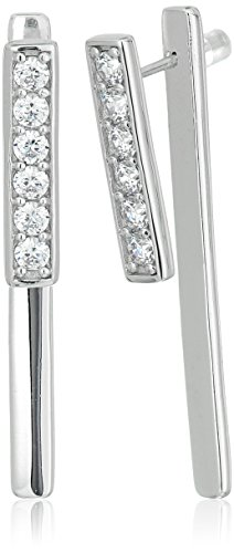 Ladies Platinum Collection - Platinum-Plated Swarovski Zirconia 6-Stone Double Linear Earring Jacket