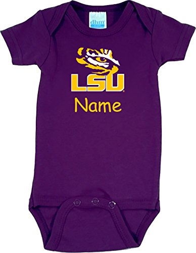 Future Tailgater LSU Tigers Personalized Color Baby Onesie (3-6 Months) ()