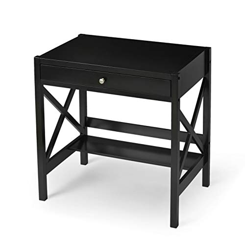 (Simple Living - Best Choice Wooden Black Writing Desk with 1 Drawer and Shelf (Classic X Design))