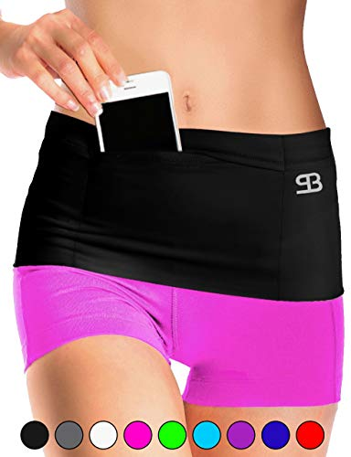 Stashbandz Unisex Travel Money Belt, Running Belt, Fanny and Waist Pack, 4 Large Security Pockets and Zipper, Fits Phones Passport and More, Extra Wide Spandex, USA Made