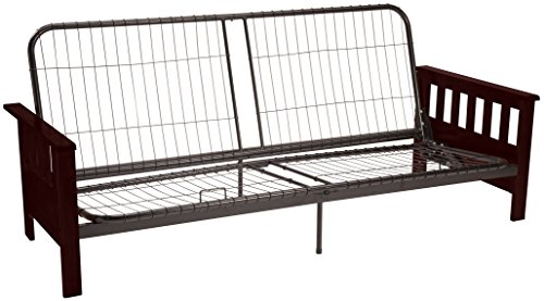 le Futon Sofa Sleeper Bed Frame, Queen-size, Mahogany Arm Finish (Mahogany Futon Frame)