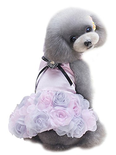 Freerun Puppy Dog Rose Flower Romantic Princess Party Wedding Dress Clothes Tutu Shirts - Pink, L ()