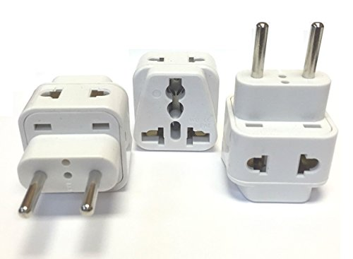 CKITZE BA-9C-3P Grounded Universal 2-in-1 USA to Europe, Russia, UAE Type C Plug Adapter - 3 Pack