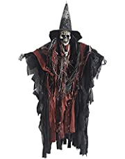 SOIMISS Halloween Hanging Ghost Prop Scary Skeleton Hanging Decorations Devil Wizard Figurine Pendant Spider Webs Flying Ghost Ornament for Haunted House Yard Outdoor Indoor