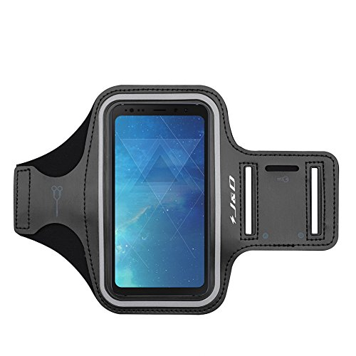 J&D Armband Compatible for Galaxy S8 Active Armband, Sports Armband with Key Holder Slot for Samsung Galaxy S8 Active Running Armband, Perfect Earphone Connection While Workout Running - Black (Active Arm Sport Armband)