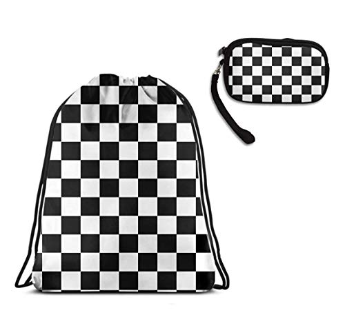 Mens Women School Swim Drawstring Sack, Race Waving Checkered Flag Rucksack, Waterproof, Home Travel Storage Use + Theft Proof Travel Purse Wristlet Make Up Bag ()