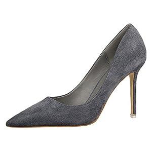 T&Mates Womens Fashion Pointed Toe Pumps High Heel Stilettos Versatile Slip On Suede Dress Shoes (5.5 B(M)US,Gray)