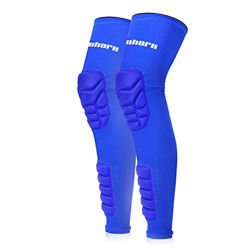 Honeycomb Long Knee Pads Leg Warmers Support Brace Compression Running Leg Sleeve Socks Gym Sports,Blue,M