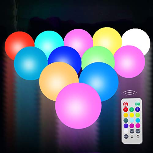Ball Outdoor Fountain - UNIQLED 12 Packs LED Floating Mood Lights Battery Operated 3 inch Color Changing Pool Balls with Remote Controller Waterproof LED Balls Garden Decor Bath Toys for Indoor Outdoor Decoration