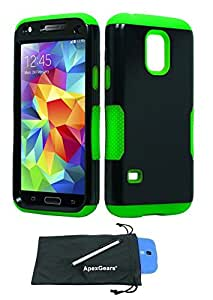 For Samsung Galaxy S5 Mini Double Layer Hybrid Phone Protector Cover Case with Stylus Pen and ApexGears (TM Phone Bag (Black Neon Green)