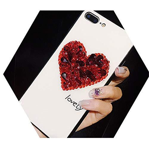 - Tempered Glass Case Rhinestone Love Heart Phone Case for iPhone X XS XR XS Max 6 6S 7 8 Plus P20 Mate 20 Pro Red Love Heart for iPhone 7