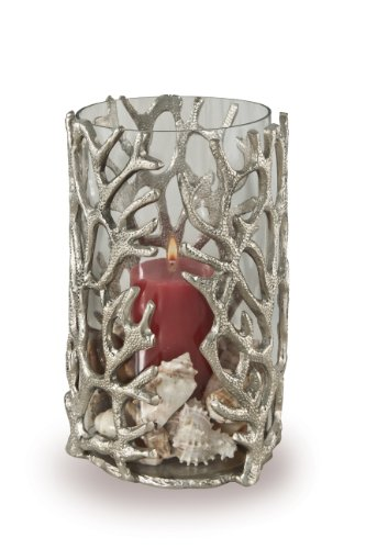 Star Home Coquilles Coral Hurricane with Glass Insert, 9-Inch H by Star Home