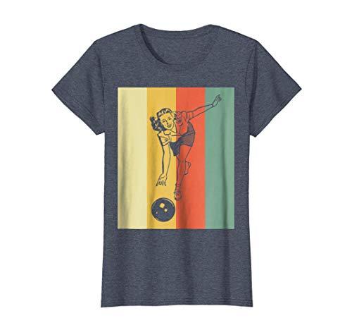 Womens Vintage Bowling T-Shirt - Retro Bowling Girl TShirt XL Heather Blue