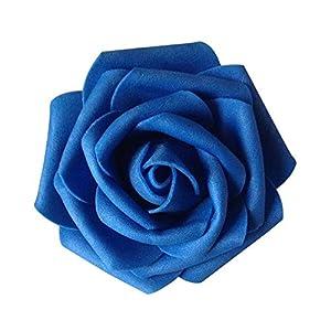 50Pcs Fake Foam Roses Artificial Flowers Wedding DIY Bridal Bouquet Party Decor - Royal Blue 50pcs Ameesi 41