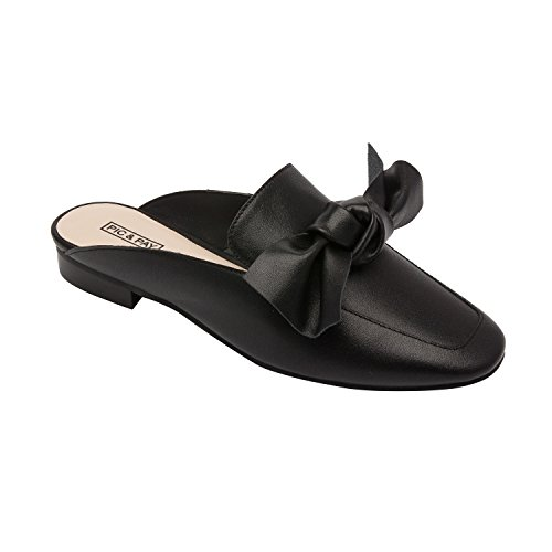 Pic / Betala Dakota   Womens Båge Prydd Slip-on Bekväm Loafer Mule Läder Mocka (ny Vår) Svart Läder