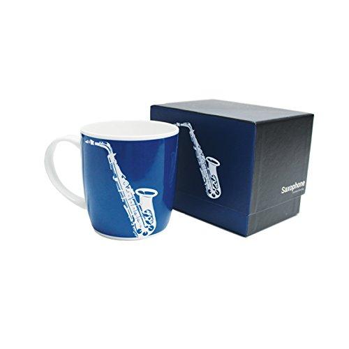 - My Music Gifts Saxophone Silhouette Bone China Boxed Mug, Blue by My Music Gifts