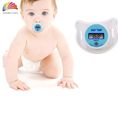 - Baby Pacifier Thermometer,IPRO Digital Newborn Infant Soft Silicon Mouth Nipple Soother Healthy Safe Electronic Waterproof Temperature Check Meter LCD Display (S-Blue)