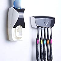 Unity Brand™ Plastic Automatic Hands-Free Wall Mounted Toothpaste Dispenser Squeezer with Detachable 5 Hole Toothbrush Holder (Standard, Multicolour)
