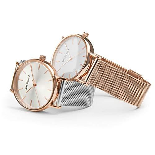 Reloj Mr boho para Mujer con Correa Plateada y Pantalla en Blanco 00728764: Amazon.es: Relojes