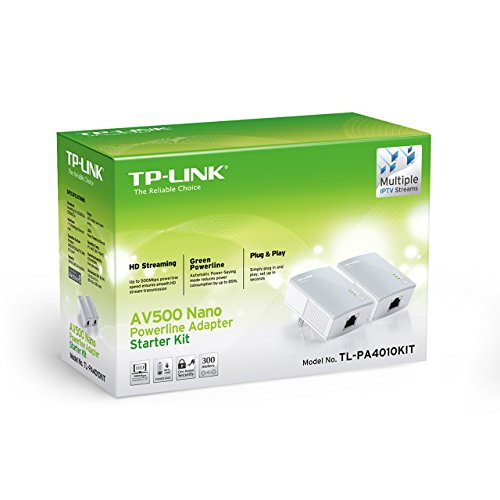 TP-Link AV500 Nano Powerline Adapter Starter Kit, up to 500Mbps (TL-PA4010KIT)