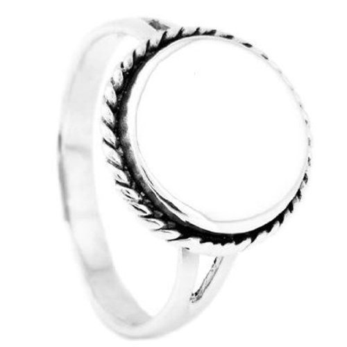 Sterling Silver Polished Signet Rope Edge Round Ring with Engraving Sz ()