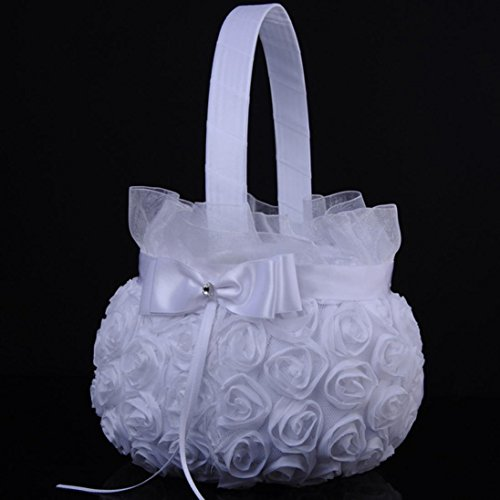 Icocol New Design Style Lace Flower Romantic Bowknot Silk Cloth Wedding Ceremony Party Rose Flower Girl Makeup Basket Gift ()