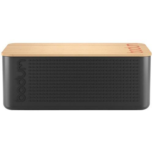 -[ Bodum Bistro Bread Box with Bamboo Cutting Board - Black  ]-