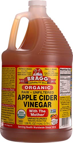 Bragg Organic Apple Cider Vinegar, Raw, Unfiltered, with The Mother, 128 Ounce