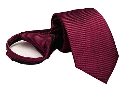 (Mens Big Boys Wine Red Tie Easily Zipper Silk Repp Neck Wear Best Gift Giving)