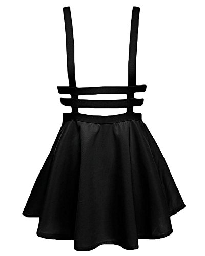 Bluetime Womens Pleated Short Braces Skirt,Black,Small