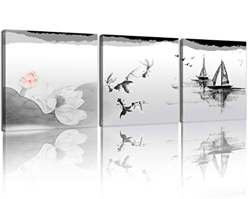 NAN Wind Black and White Traditional Chinese Painting of Lotus Flowers and Birds Canvas Prints 3 Panels Wood Framed Chinese Ink Painting Wall Art Landscape Painting 12x12inches 3pcs/Set