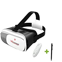 VICTORSTAR 3D Headset Glasses + Bluetooth Remote Controller VR Virtual Reality 3D Video Glasses 3D Game Glasses For 4.7 to 6 Inch Smartphones IOS Android Cellphones with Remote Controller