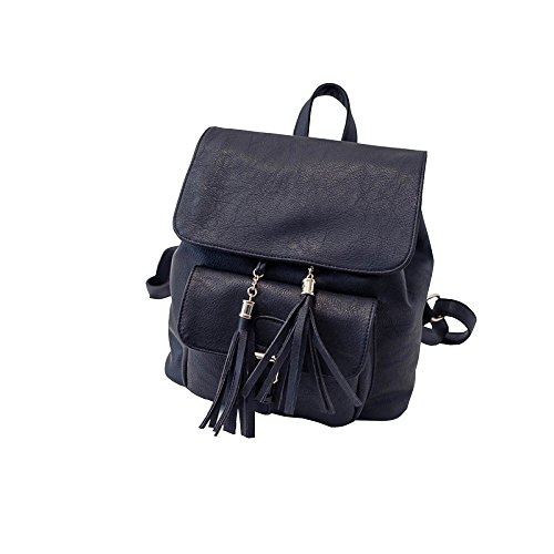 Retro Belt Leisure PU Tassel Woman Fashion Multifunction Backpack Black gnxqTwfwE