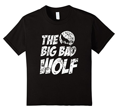 Kids The Big Bad Wolf Shirt, Funny Cute Halloween Costume Gift 12 Black