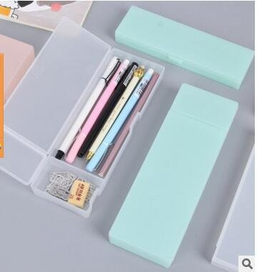 Simple Multifunctional Creative Pencil Box Translucent Frosted Storage Pen Pencil Case Stationery Student Stationery Small mint green