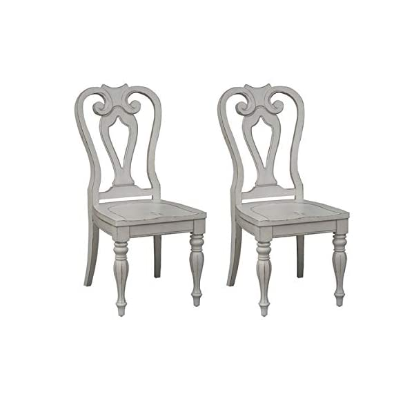 Wood Dining Chair with Turned Legs - Dining Chair with Queen Anne Back - Set of 2 - Antique White