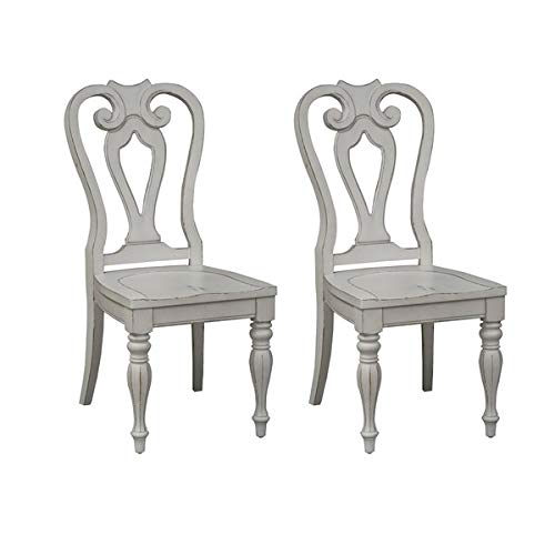 Queen 2 Arm Chairs Anne - Wood Dining Chair with Turned Legs - Dining Chair with Queen Anne Back - Set of 2 - Antique White