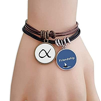 Greek Alphabet Alpha Black silhouette Friendship Bracelet Leather Rope Wristband Couple Set Estimated Price -