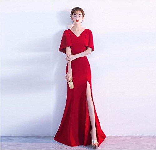 WBXAZL Vestido Elegante, Elegante Cena, Vestido de Noche Negro, V, Slim, Fishtail Anfitrión, Vestido. Rojo
