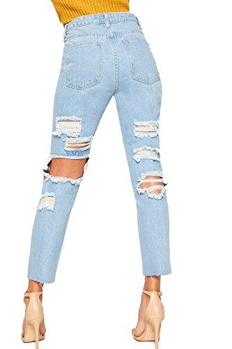 WearAll Femmes Bouffant Large Jambe Extrme Dchirs Toile De Jean Mom Jeans Dames Pantalon Pantalon - 34-42 Bleu Clair