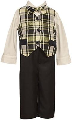 Bonnie Jean Matts Scooter Baby Boys 12M 4T Christmas Plaid Taffeta Vest Set