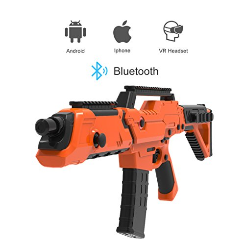 VR Bluetooth Game Gun for HTC VIVE,Game Pad Shooting Controller TPS FPS with Motor Vibration for 4 to 6 Inch Smartphone iPhone Samsung Tablet iPad Wireless Android,BENEVE(Orange) by BENEVE (Image #1)