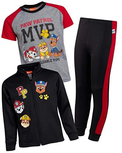 Nickelodeon Paw Patrol Boys 3-Piece Fleece Zip Jacket Jogger T-Shirt Set, Black, Size 3T' (Sleeping Dogs Best Outfit)
